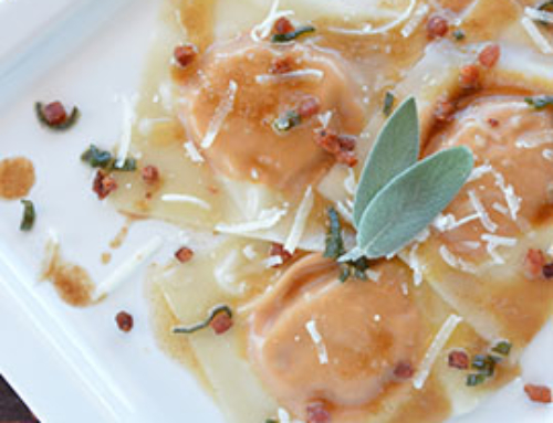 Pumpkin Raviolis with Sage Brown Butter and Crispy Pancetta