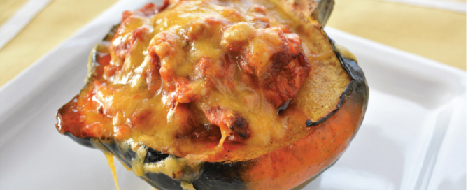 Enchilada Chicken stuffed Acorn Squash